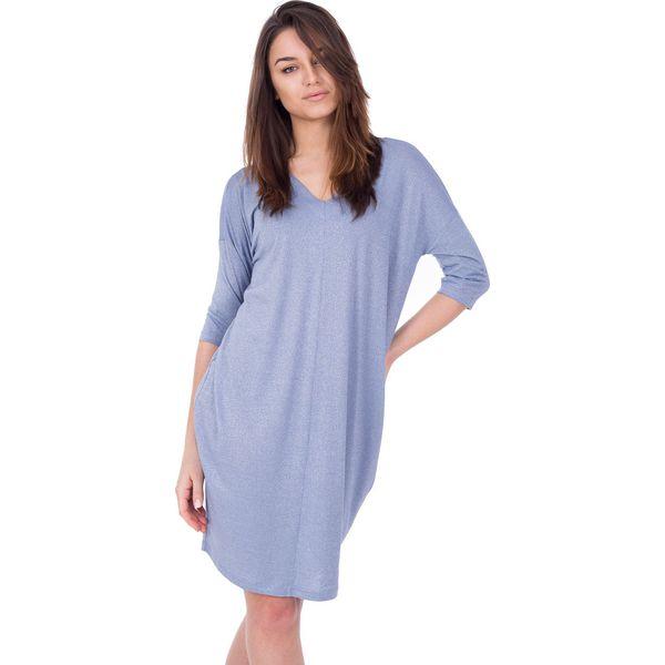 1c2426f3ed0ea9 Luźna srebrna sukienka z błyszczącej dzianiny BIALCON - Szare ...