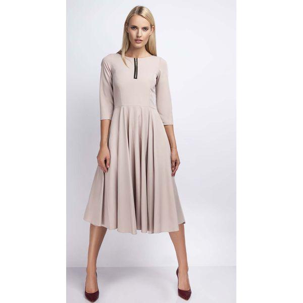 a89e0e7a Beżowa Rozkloszowana Sukienka za Kolano z Kontrastowym Zamkiem
