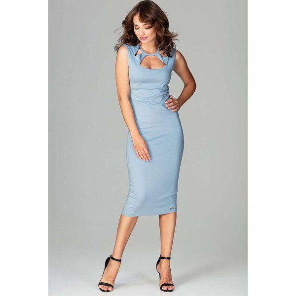 6fc91a34 Niebieska Klasyczna Ołówkowa Sukienka Midi z Ozdobnym Dekoltem