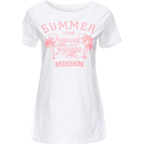 34e3c39d2 T-shirt z szerokim okrągłym dekoltem, krótki rękaw bonprix biały z ...