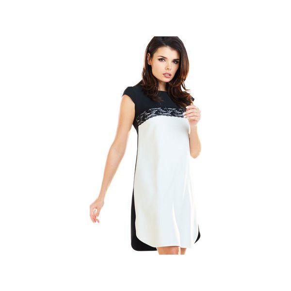 6f30277f9a Czarno-biała sukienka z koronką z krótkimi rękawami B254 - Sukienki ...