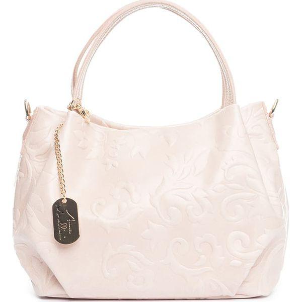 370783adc590c Skórzana torebka w kolorze kremowym - 28 x 20 x 12 cm - Białe torebki  klasyczne damskie marki Anna Morellini, ze skóry. W wyprzedaży za 260.95 zł.