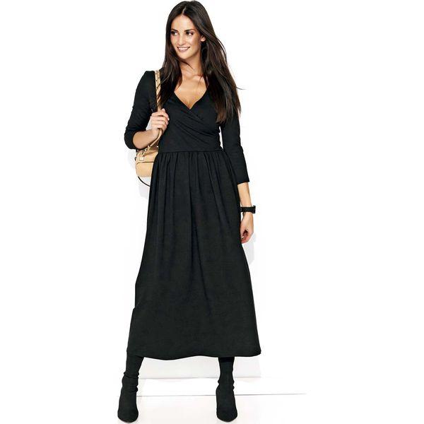 1b4ede6e79cc5 Czarna Długa Sukienka z Kopertowym Dekoltem - Sukienki damskie marki ...