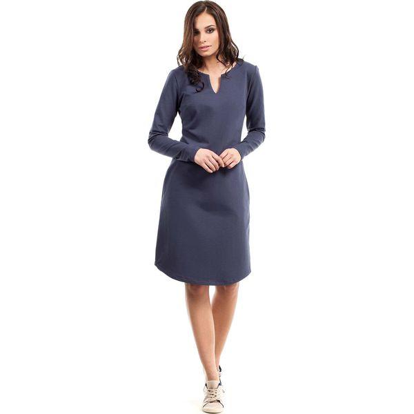 3fc2fffece Niebieska Sukienka Trapezowa z Długim Rękawem - Sukienki damskie ...