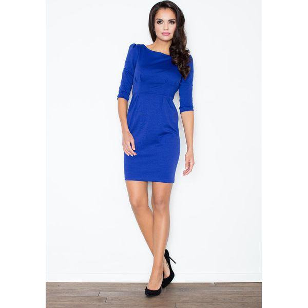 e6e2d54d0a Niebieska Klasyczna Elegancka Sukienka z Rękawem 3 4 - Sukienki ...