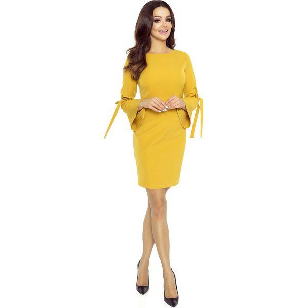 90183330be Miodowa Sukienka z Ozdobnym Wiązaniem na Rękawach - Żółte sukienki ...