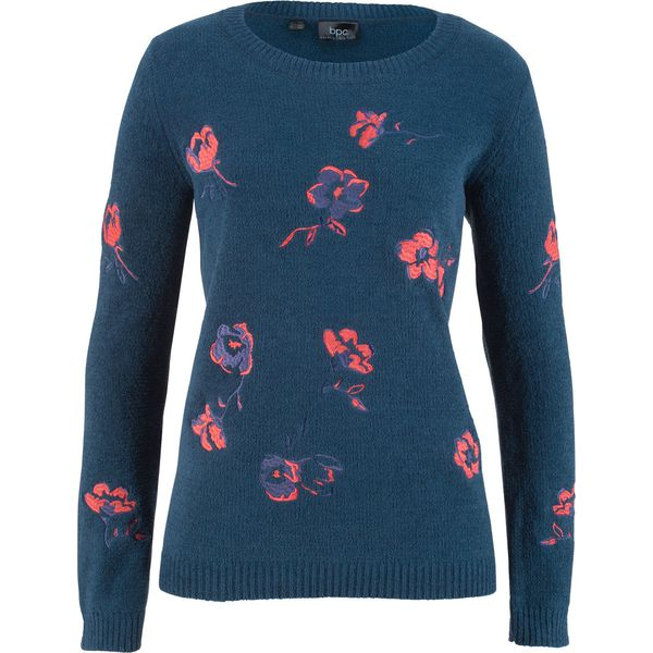 5c57030b6d92 Sweter w kwiaty bonprix ciemnoniebieski wzorzysty - Niebieskie ...