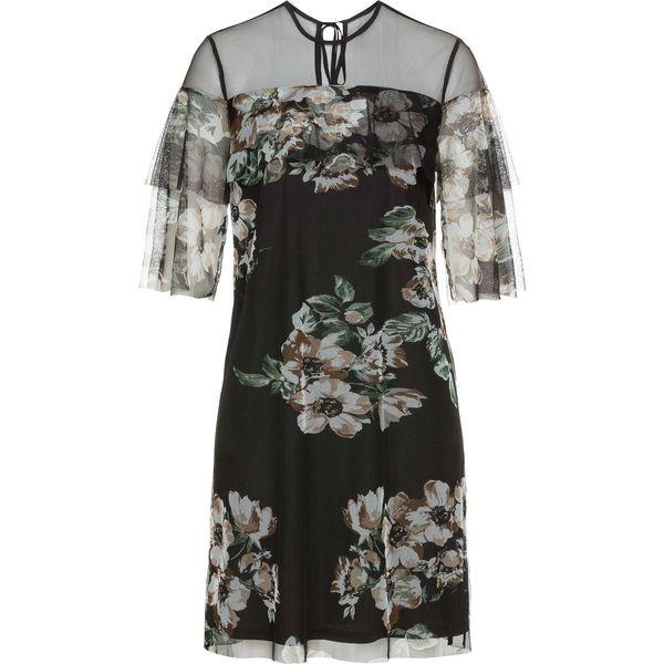 85eb56baed Sukienka z falbanami bonprix czarny w kwiaty - Czarne sukienki ...