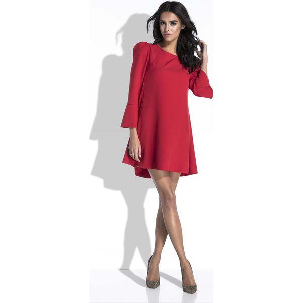 3287f7773a Czerwona Sukienka Mini o Linii A z Dekoltem na Plecach - Sukienki ...