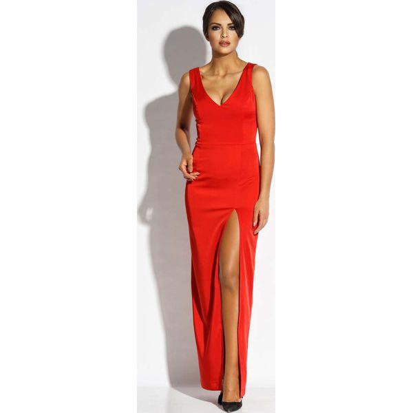 767a333fa3 Czerwona Sukienka Wieczorowa Maxi z Długim Rozcięciem - Czerwone ...