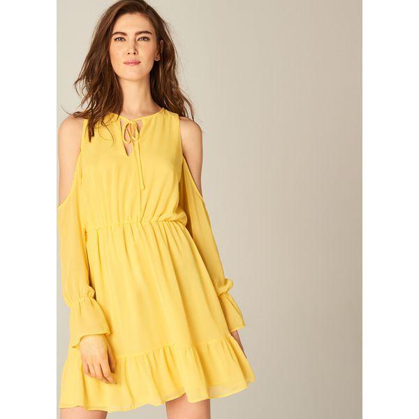 bdbb524363 Szyfonowa sukienka z falbanami - Żółty - Żółte kombinezony damskie ...
