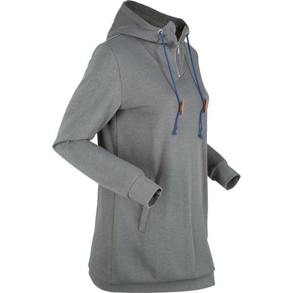 f4c10a7ef9eafb Długa bluza dresowa, długi rękaw bonprix dymny szary melanż - Szare ...