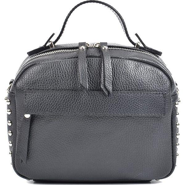 0579030bbb5a7 Skórzana torebka w kolorze czarnym - 20 x 25 x 12 cm - Czarne ...