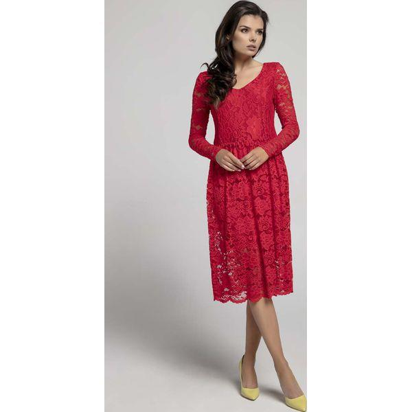 db396ef2 Czerwona Wizytowa Rozkloszowana Sukienka z Koronki