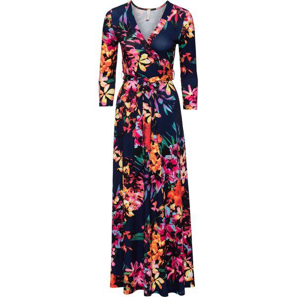 3fa53a6fc7 Sukienka bonprix niebiesko-jasnoróżowy w kwiaty - Czerwone sukienki damskie  marki bonprix