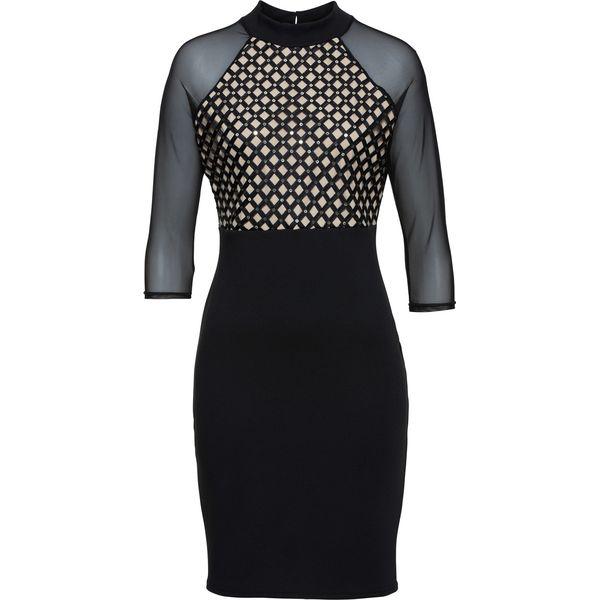 866bd4e3d7 Sukienka z siatkowymi wstawkami bonprix czarny - Czarne sukienki ...