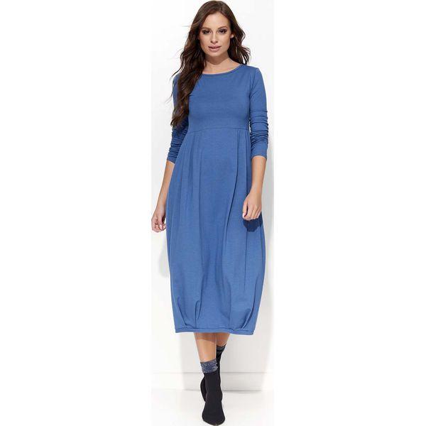 56c43c23cc Jeansowa Sukienka Midi Bombka z Długim Rękawem - Niebieskie sukienki ...
