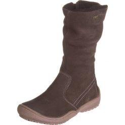 7827216f2b057 Skórzane kozaki zimowe w kolorze brązowym. Kozaki dziewczęce marki Zimowe  obuwie dla dzieci. W