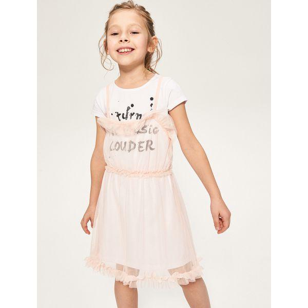 d3a03c09a7 Dwuwarstwowa sukienka - Biały - Białe sukienki dziewczęce marki ...