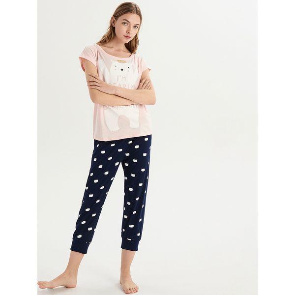 03687d067171ab Dwuczęściowa piżama z misiem - Różowy - Piżamy damskie Sinsay. Za ...
