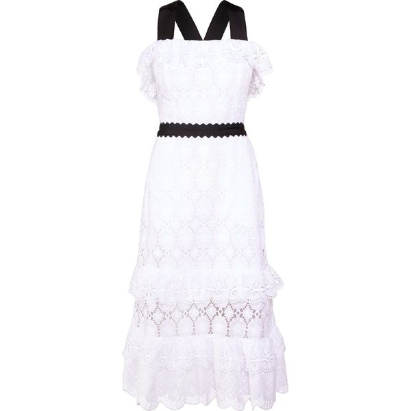 PERSEVERANCE LONDON CLOVER ANGLAISE RUFFLED MIDI DRESS Sukienka koktajlowa off white
