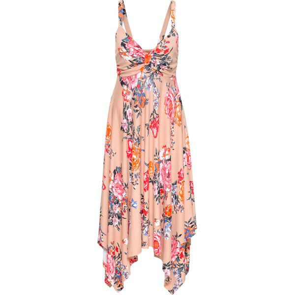 ce1cd327d8 Sukienka z asymetrycznym dołem bonprix dymny różowy w kwiaty ...