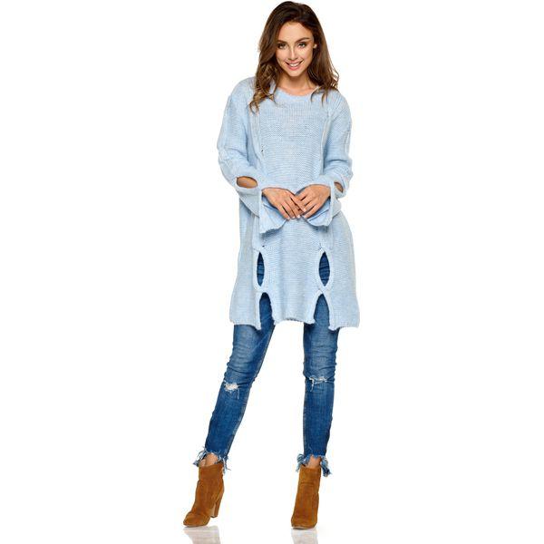 c9a7109c13013 Dłuższy Błękitny Sweter z Owalnymi Wycięciami - Swetry klasyczne ...