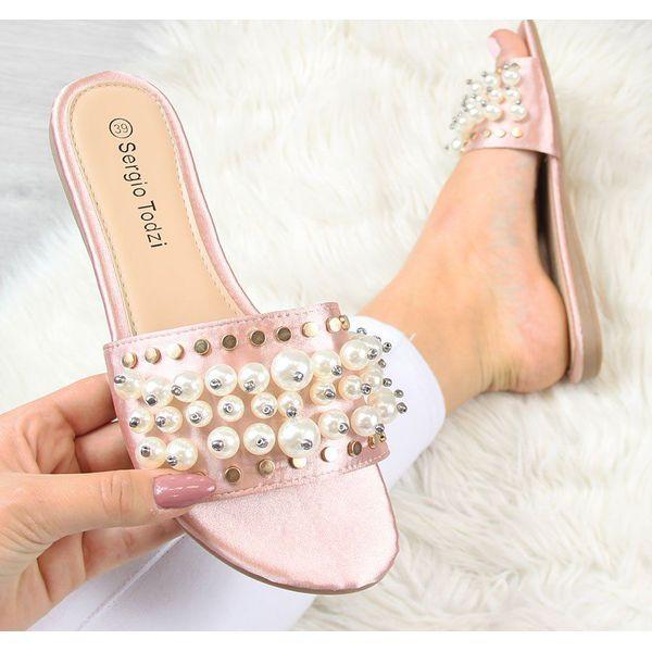ad6c9f8c2e153 Sergio todzi Klapki damskie z perłami różowe r. 37 - Klapki damskie ...