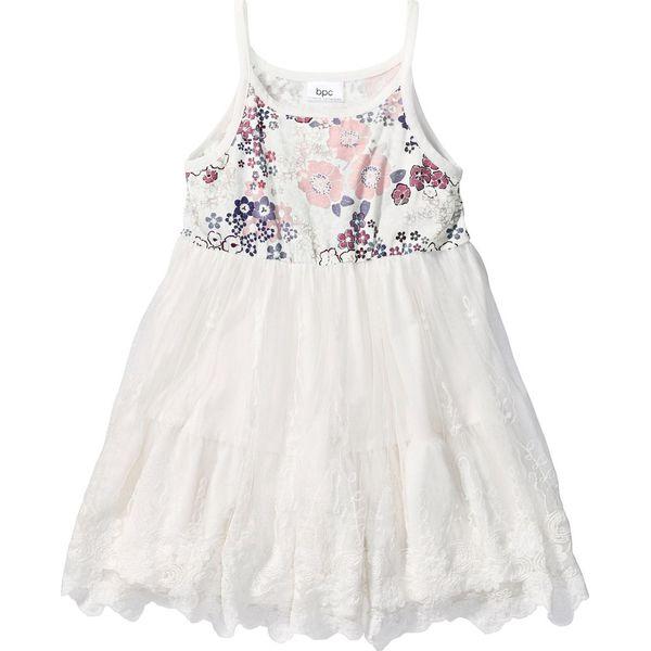 d751f98872 Sukienka z falban z koronką bonprix biel wełny z nadrukiem - Białe ...