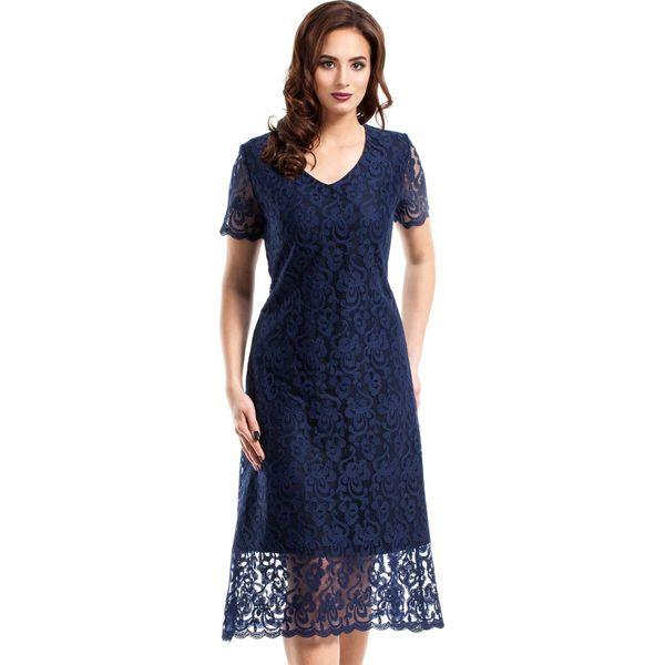 34ad21c77b Granatowa Elegancka Koronkowa Sukienka Midi z Krótkim Rękawem ...