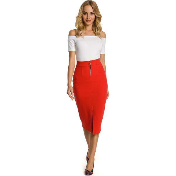 0c0252db709e84 Czerwona Spódnica Ołówkowa Midi z Ozdobnym Suwakiem - Spódnice ...